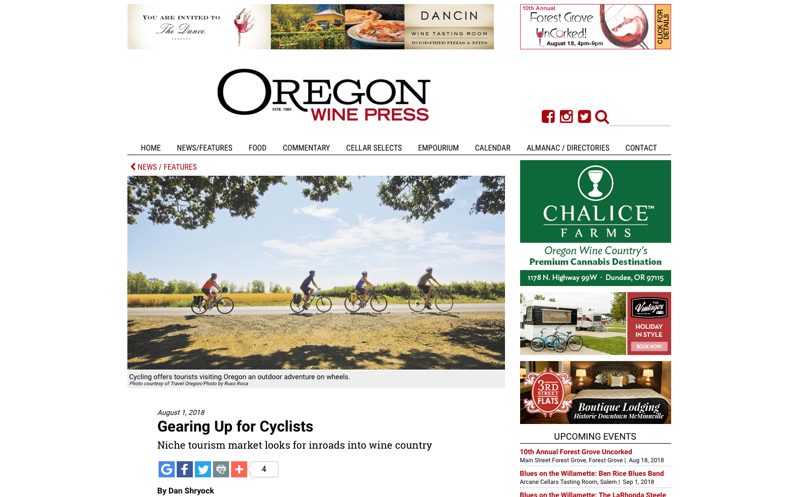 Oregon Wine Press, Gearing Up For Cyclists